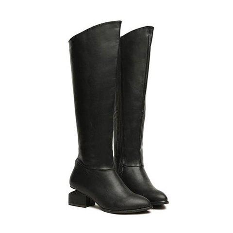 Casual Solid Color and Special Heel Design Women's High Boots - BLACK 36