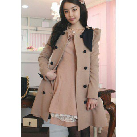 Stylish Scoop Neck Double Breasted Puff Long Sleeve Women's Coat - DARK KHAKI L