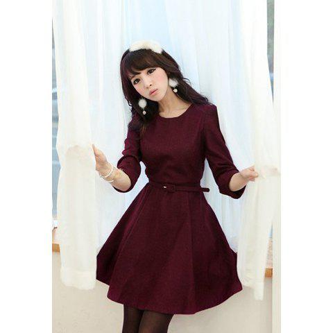 Sweet Scoop Neck Puff 3/4 Sleeve Large Hem Women's Dress - WINE RED L