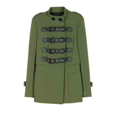 Chic Double-Breasted Stand Collar Long Sleeves Women's Army Green Coat - ARMY GREEN L