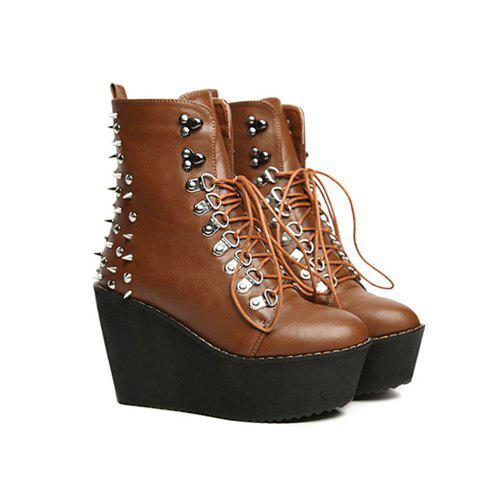 Party Rivet and Lace-Up Design Women's Short Boots - BROWN 37