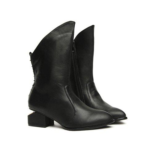 Casual Black and Special Heel Design Women's Short Boots