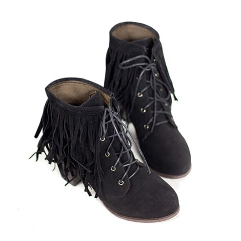 Casual Suede Solid Color Tassels Lace-Up Chunky Heel Design Women's Short Boots - BLACK 37
