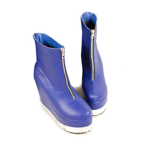 Casual Solid Color Zipper Design Women's Platform Boots - BLUE 38