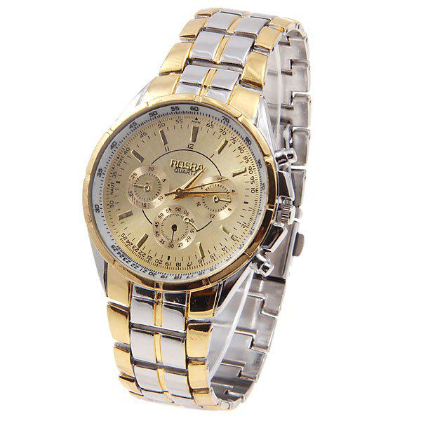 Rosra men 39 s watches with quartz analog round shaped dial steel watchband in new design golden for Rosra watches