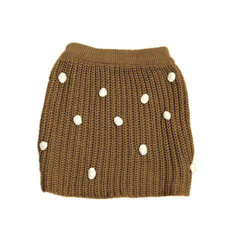 Laconic Solid Color Stereo Small Balls Embellished Women's Woolen Yarn Skirt - KHAKI ONE SIZE