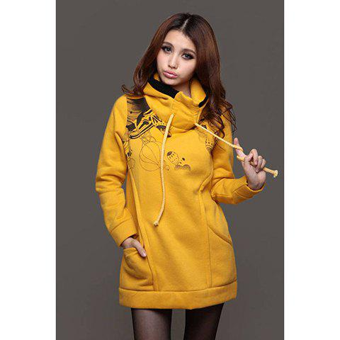 Sweet Style Long Sleeves Slim Cartoon Print Hooded Sweater For Women - YELLOW M