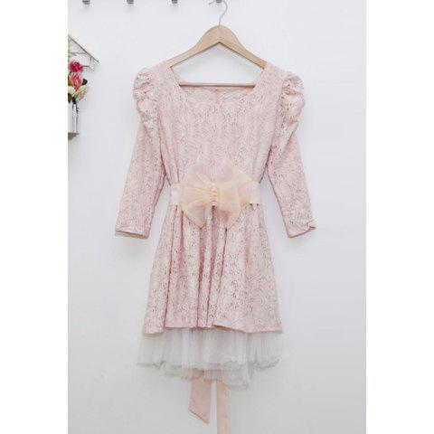 Stylish Scoop Neck Bow Belt Puff 3/4 Sleeve Women's Lace Dress - PINK ONE SIZE