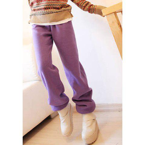 Casual Loose-Fit Solid Color Women's Imitate Fleece Sports Pants - PURPLE L