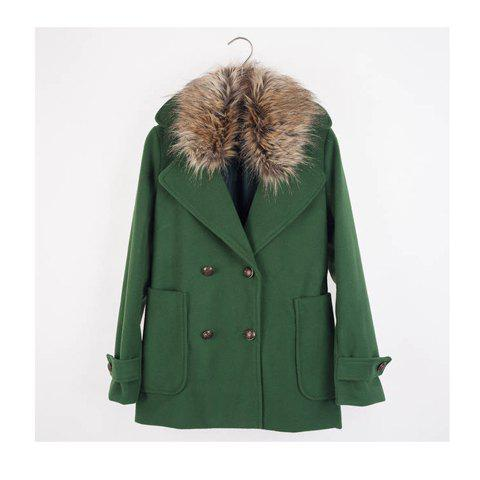 Exquisite Double-Breasted Detachable Lapel Collar Long Sleeves Women's Coat - GREEN S