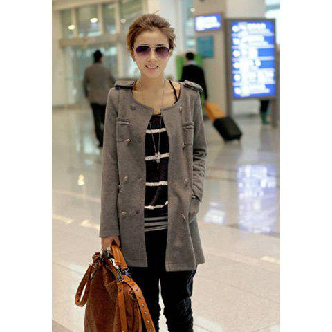 Graceful Round Neck Long Sleeve Double-Breasted and Pocket Women's Coat - GRAY ONE SIZE
