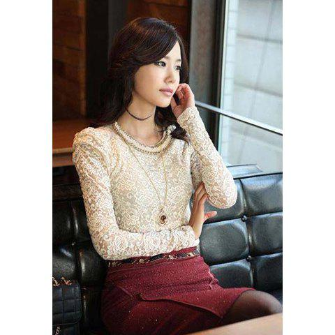 Elegance Round Neck Long Sleeve Lace and Openwork Women's T-Shirt - APRICOT M