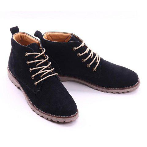 Suede Lace Up Boots - BLACK 44