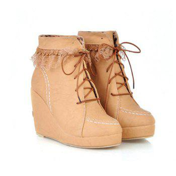 Party Round Head and Lace-Up Design Women's Short Boots