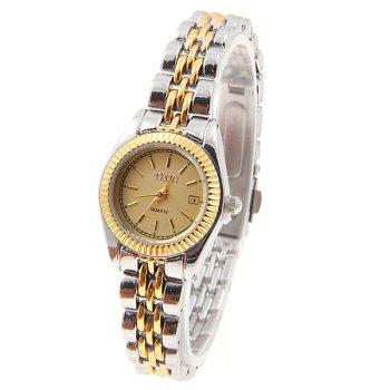 YiShi Women's Watches with Quartz Analog Golden Round Shaped Dial Steel Watchband