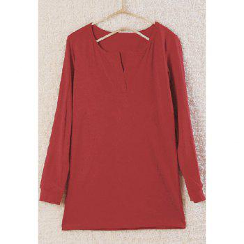 Sexy V-Neck Slimming Three Quarter Sleeve Pure Color T-Shirt For Women - WINE RED ONE SIZE