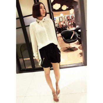 Elegant Shirt Collor Rhinestone Embellished Single-Breasted Long Sleeves Women's White Chiffon Shirt