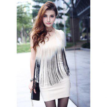 Sexy One Shoulder Ombre Fringe Splice Slimming Long Sleeve Milk Silk Women's Club Dress - APRICOT ONE SIZE