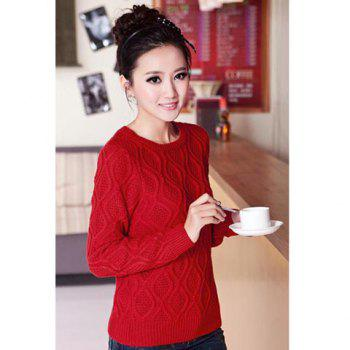Stylish Casual Style Scoop Neck Rhombus Print Solid Color Long Sleeves Knitted Women's Sweater