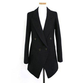 Elegant Solid Color Lapel Collar Long Sleeve Double-Breasted Wool Blends Women's Blazer BLACK
