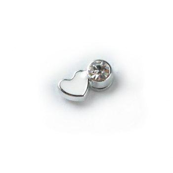 Pair of Corea Stylish Fashion Style Magnetic Heart Shape Rhinestone Decorated Stud Earrings