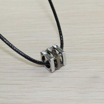 Retro and Fashionable Style Silvery Blue Openwork Cube Pendant Necklace For Couples - BLACK BLACK