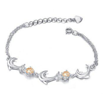 Graceful Cute Style Multi-Layered Dolphin Shape Crystal Embellished Bracelet For Women