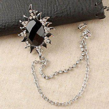 Fashionable Personalized Style Flower Shape Rhinestone Embellished Brooch For Men
