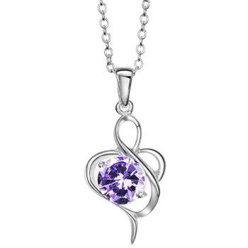 Elegant Style Twisty Flower Shape Rhinestone Inlaid Pendant Necklace For Women