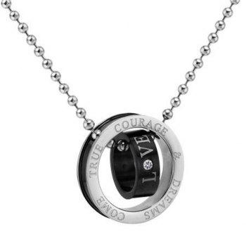 Retro Style Double Ring Letter Print and Rhinestone Inlaid Pendant Necklace For Couples - BLACK BLACK
