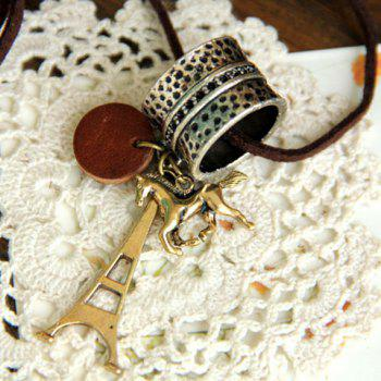 Retro Style Ring Tower and Horse Shape Pendant Embellished Sweater Chain For Women - AS THE PICTURE AS THE PICTURE