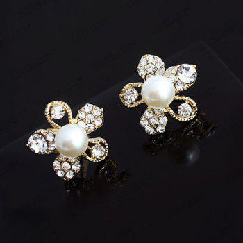 Retro Style Flower Shape Rhinestone and Pearl Inlaid Ear Clips For Women