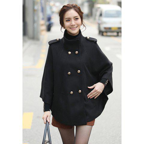 Dolman Style Stand-Up Collar Double-Breasted Solid Color Women's Coat With Belt - BLACK L