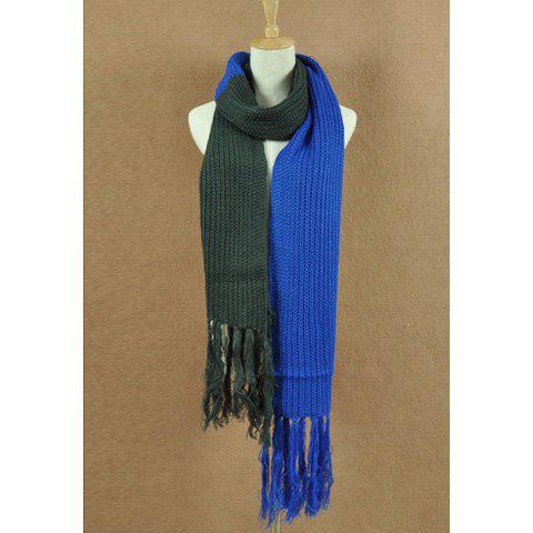 Casual Fashionable Style Color Splicing Design Fringe Embellished Scarf For Women/Men - DEEP BLUE
