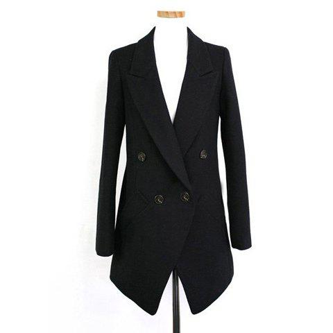 Elegant Solid Color Lapel Collar Long Sleeve Double-Breasted Wool Blends Women's Blazer - BLACK S