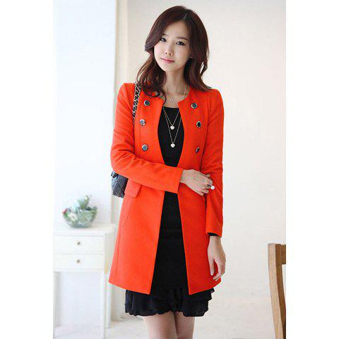 Stylish Scoop Neck Long Sleeve Double-Breasted Solid Color Women's Coat - JACINTH XL