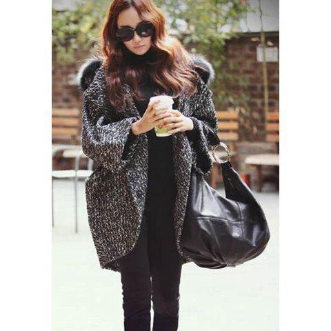 Fashion Irregular Hem Invisible Button Design Faux Fur Hooded Three-Quarter Sleeves Women's Coat