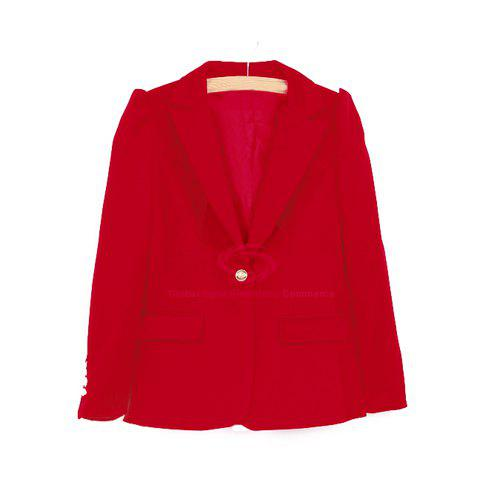 New Style Slimming V-Neck Shrug Long Sleeves Slimming Cotton Blend Women's Blazer - RED S