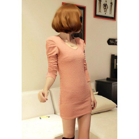Delicate Slim-Fit Lace Splicing Hollow Back V-Neck Long Sleeves Women's Dress - PINK ONE SIZE