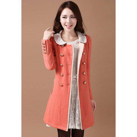 Elegant Peter Pan Collar Double-Breasted Beading Wool Blends Women's Coat For Women - PINK M