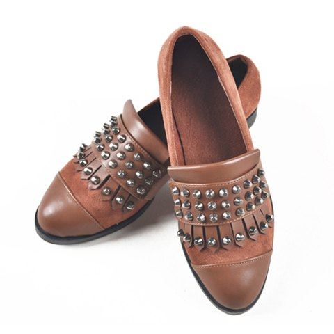 Punk Style Suede and PU Leather Flat Heel Women's Spike Shoes - BROWN 36
