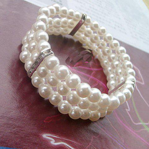 Faux Pearl Three Layered Design Bracelet - WHITE