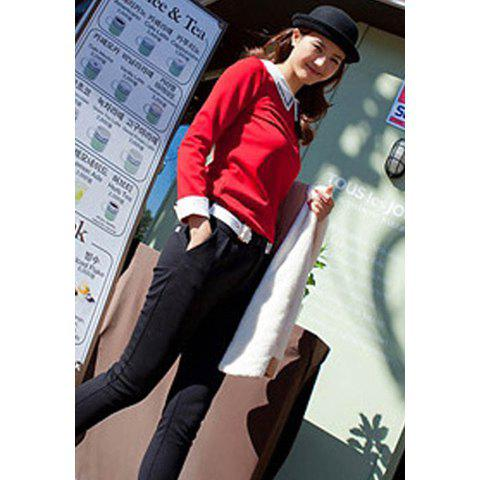 Refreshing Studded White Cuff and Turndown Collar Long Sleeves Women's Shirt - RED ONE SIZE