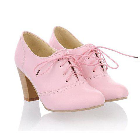 Casual Lace-Up and Solid Color Design Chunky Heel Women's Ankle Boots - 34 PINK