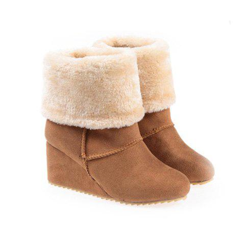 Sweet Imitation Fur and Suede Design Women's Short Boots - APRICOT 37