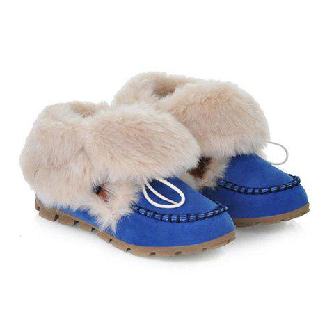 Sweet Color Block and Imitation Fur Design Women's Short Boots - BLUE 38