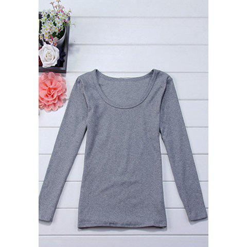 Casual Scoop Collar Simple Design Long Sleeves Skinny Cotton Blend Women's T-Shirt - GRAY L