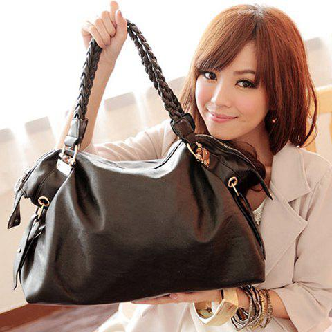 Laconic Stylish Casual Solid Color Metal and Weaving Design Women's Tote Bag - BLACK