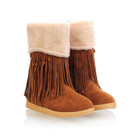 Sweet Tassels and Round Head Design Women's Short Boots - YELLOW 39