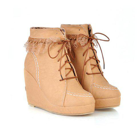 Party Round Head and Lace-Up Design Women's Short Boots - BEIGE 37